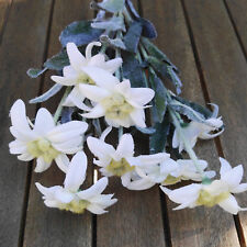 9 x Edelweiß 30cm Blüten Landhaus Kunstblume Landhaus Blumen Weiß Strauß 3 Stiel