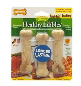Nylabone Healthy Edibles Variety Pack Petite | 3 Flavored Bones for 15 lb Dogs