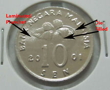 MALAYSIA  10sen coin 2001  ERROR DIE FILLED & LAMINATED PLANCHET  Congkak