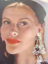 Vintage Large Rhinestone Crystal Drop Chandelier Earrings