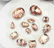 A set sew on glass bead rhinestones mixed size peach gem claw stone dress making