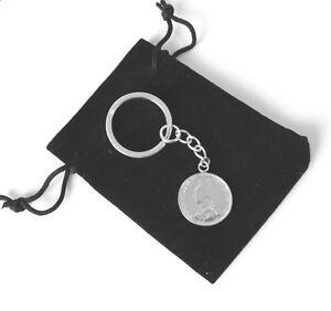 Hallmarked Sterling Silver 1887 Victorian Shilling Coin Key Ring Keyring