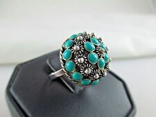 Vintage Turquoise? Sterling Silver Dome Ring ADJUSTABLE SIGNED LM 279C