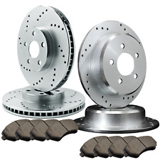 [FRONT & REAR] 4 DRILLED ONLY BRAKE ROTORS & 8 CERAMIC PADS ATL053969
