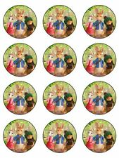"""PETER RABBIT 2"""" ROUND CUPCAKE WAFER PAPER BIRTHDAY CAKE TOPPERS (24)"""