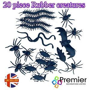 20 PIECE RUBBER HALLOWEEN CREATURE PACK - SNAKES, BATS, BUGS, RAT