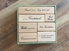 NEW Mounted ANNA GRIFFIN Sentiments/Word/Thank You/Best Wishes Wood Stamps (7)