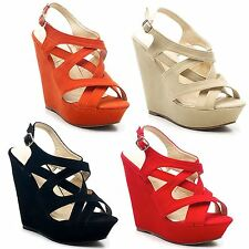 Evening Platforms, Wedges Faux Suede Upper Shoes for Women