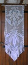 Rideau fleur exotique panneau de porte dentelle crochet filet fait main .