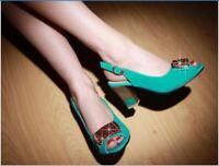 Womens Buckle Decor Shinning Peep Toe Mid Block Heels Sandals Casual Shoes Sweet
