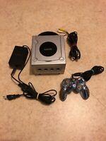 😍 nintendo gamecube grise platine edition gris en l'etat avec manette et cables