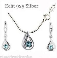 Collier Schmuck Kette & Anhänger & Ohrringe 925 Silber Blautopas Weihnachten 💎