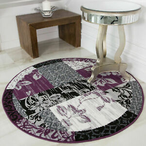 Purple Grey Contemporary Patchwork Rug Traditional Circle Round Dining Room Rugs
