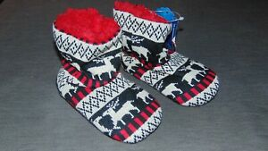 M&S Christmas Slippers Boots Nordic Reindeer Knitted UK 4 EU 20.5 Multi BNWT