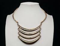 Vintage Gold Brass Tone Bib Statement Egyptian Style Choker Necklace
