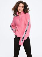 Victoria's Secret Pink Half Zip Sweater Knit Crew Pullover Hoodie Sweatshirt L