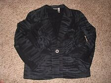 New No Tag Wmn Chico's Sz 3 Black/Gray Button Front Long Sleeve Jacket