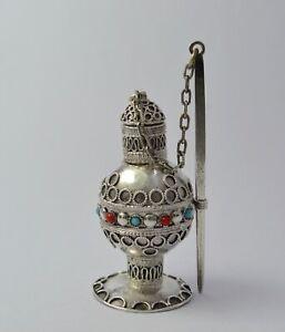 Flacon en argent à Khol parfum Maroc XXe siecle