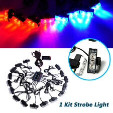 12V Red Blue 32 LED Car Strobe Bright Light Bars Kit Deck Dash Grille Anti-dust