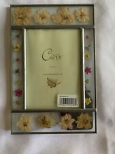 Pewter Color Dried Flowers 3 1/2 X 5 Metal Picture Frame