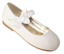 Girls Ivory Sparkly Pu Ballerina Shoes Flower Girl Bridesmaid Party Occasion