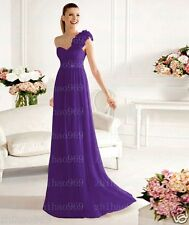 One Shoulder Flower Chiffon Evening Ball Formal Gown Bridesmaid Dresses Size6-18