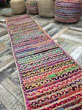 ❤️Braided Stripe Rug Natural Jute & Multi Colour Fabric Rag 60cm x 245cm Runner