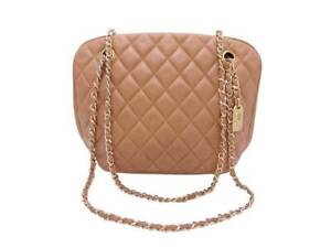 Auth CHANEL Matelasse CC Logo Shoulder Bag Beige/Brown Leather/Gold - e41447