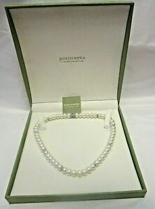 """Judith Ripka Pearl Necklace 925 Sterling Magnetic Clasp in Box 17"""""""