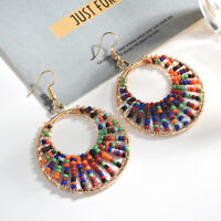 Big Colours Jewelry Charm Beads Hoop Gift Earrings Round Pendant Wedding Women