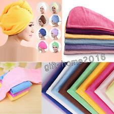 3 X Long Hair Wrap Head Towel Turbie Turban Twist Drying Cap Hat Loop Button UK
