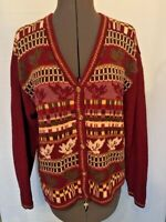 Crazy Horse Sweater Cardigan Style LS Cotton Blend Autumn Christmas Size Medium