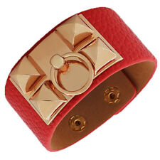 Fashion Red Faux Vegan Leather Rose Gold Spikes Ring Large Wristband Bracelet