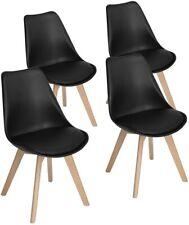 Pack 4 sillas de comedor, silla diseño nórdico con asiento acolchado, Negro
