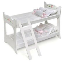 "Kids Girls White w/Pink Rose Doll Bunk Bed & Bedding for 18""- 20"" Inch Dolls NEW"