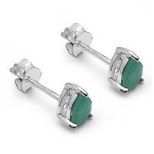 Neu Ohrstecker 925 Silber Handgefertigt 0,80Ct Smaragd Emerald #24
