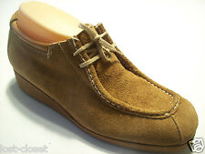 Vintage 60s Hipster Fashion Flairs Brown Suede Leather Oxford Shoe Size 7 W Wide