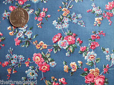 BTHY 1/2Y Cotton Quilt Fabric Beautiful Blue Calico CRANSTON VIP Pink Floral #42