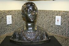 ANTIQUE SIGNED 1882 CERAMIC BRONZE BUST SCULPTURE OF YOUNG GIRL OR BOY GREEK?