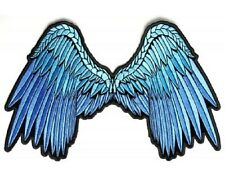 "(L22) Large BLUE ANGEL WINGS 11"" x 7"" iron on back patch (3012) Biker Vest"