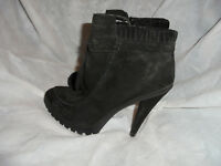 KG BY KURT GEIGER WOMEN BLACK SUEDE LEATHER ZIP ANKLE BOOT  SIZE UK 5 EU 38 VGC