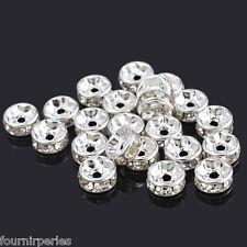 30 Perles Intercalaires Rondelles Strass Argenté 7mm
