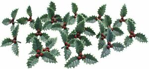 Holly & Berry Cake Toppers Plastic Christmas Yule Log Cupcake Snow Decoration