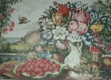 """Fanny Palmer """"LANDSCAPE, FRUIT AND FLOWERS"""" Hummingbird River Currier & Ives"""