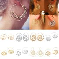 Women Boho Jewellery Spiral Brass Gypsy Ear Stud Tribal Ethnic Festival Earrings