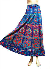 Skirt Wrap Around New Blue Indian Women Ethnic Floral Rapron Print Cotton Long