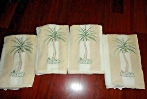 WAVERLY GARDEN ROOM CREAM TAN EMBROIDERED PALM TREES (4PC) BATH TOWEL SET 27X48