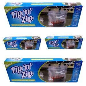 TIP N ZIP 32 Pouches Standing Liquids Soups Resealable Food Freezer Storage Bags