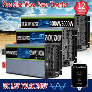 3000W 4000W 6000W 8000W Power Inverter 12V/24V To 240V PURE SINE WAVE AU Plug RV