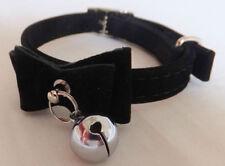 Colliers, médailles et grelots noirs en cuir pour chat